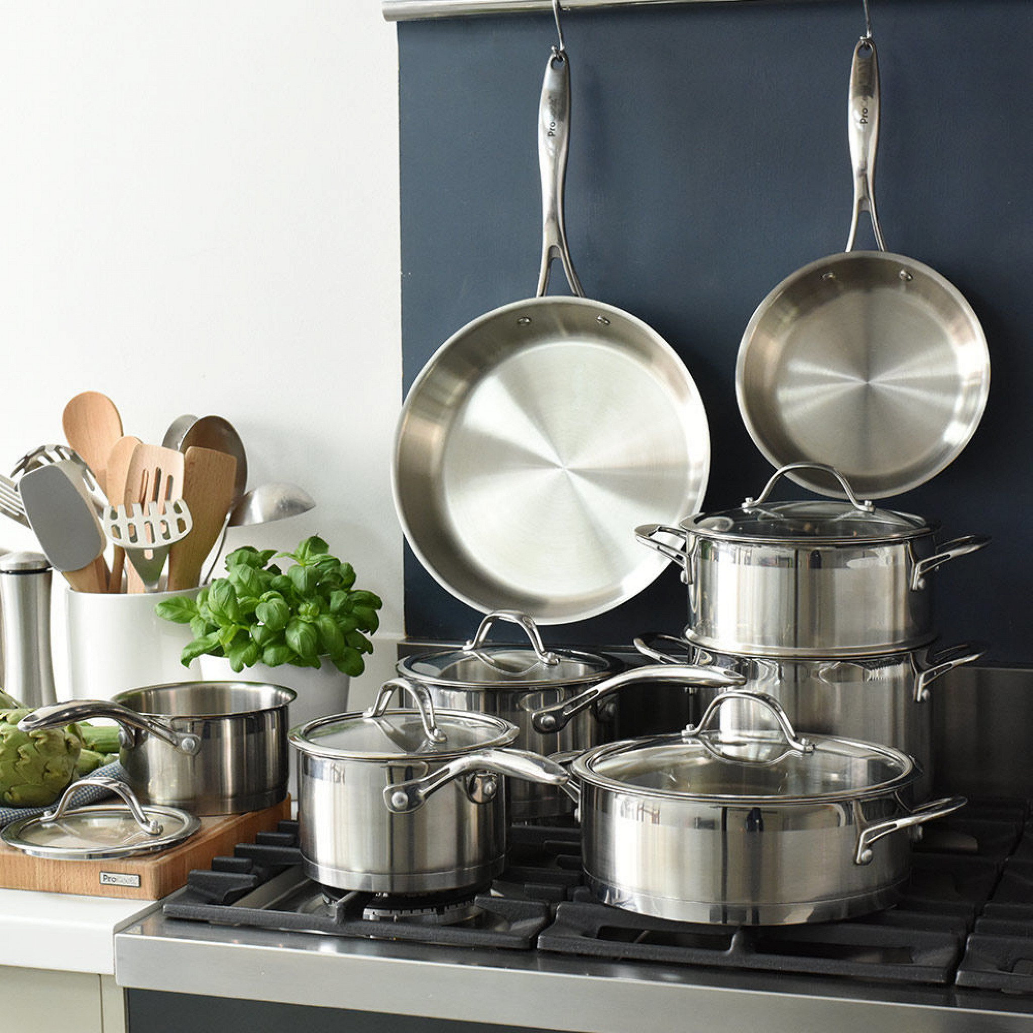 ProCook Stainless Steel Pots and Pans Displayed in Domestic Kitchen Setting, Small Size Image